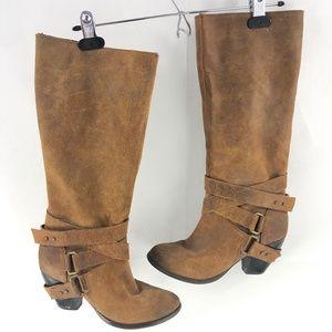 Fergie Brown Suede Strappy Boots 8 Medium